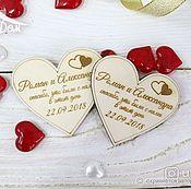 Свадебный салон handmade. Livemaster - original item Wooden wedding magnet for guests. Handmade.