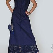 """Одежда ручной работы. Ярмарка Мастеров - ручная работа Льняное платье """"Темно-синяя ночь"""". Handmade."""