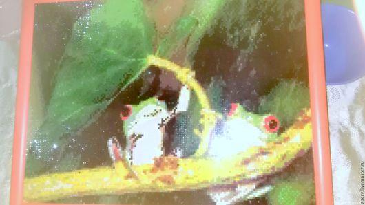 """Животные ручной работы. Ярмарка Мастеров - ручная работа. Купить картина""""Лягушки"""". Handmade. Комбинированный, яркий, для интерьера, приятный, ткань"""