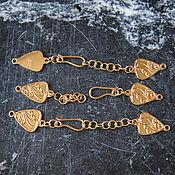 Застежка серебряная позолоченная Треугольная с удлинительной цепочкой
