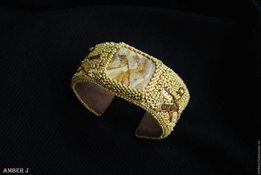 """Браслеты ручной работы. Ярмарка Мастеров - ручная работа. Купить Браслет """"Gold"""". Handmade. Золотой, бисер, кожа"""