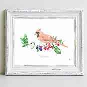 Картины и панно handmade. Livemaster - original item Bird watercolor red cardinal. Handmade.