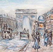 """Картины и панно ручной работы. Ярмарка Мастеров - ручная работа Картина """"Париж""""(графика,пастель)Голубой серый. Handmade."""