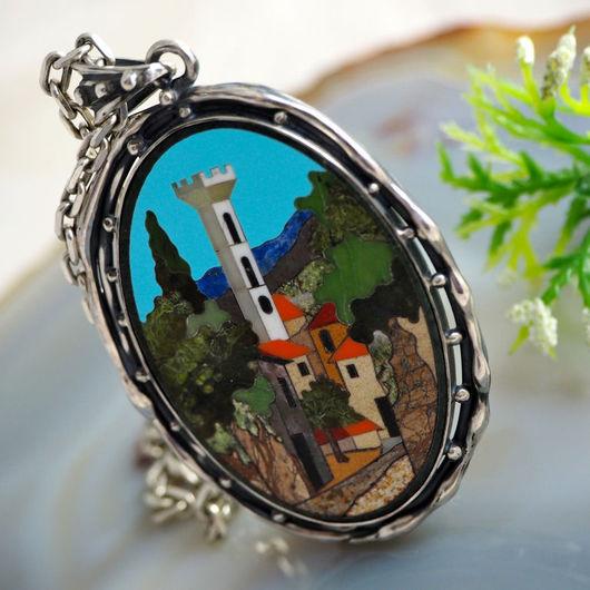 """Кулоны, подвески ручной работы. Ярмарка Мастеров - ручная работа. Купить Кулон """"Тоскана"""" - флорентийская мозаика, серебро. Handmade. мозаика"""