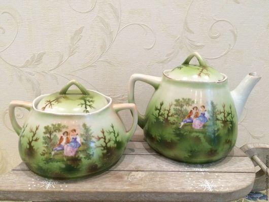 Винтажная посуда. Ярмарка Мастеров - ручная работа. Купить очень редкие сахарница и чайник, Вербилки, ранние советы. Handmade. Зеленый