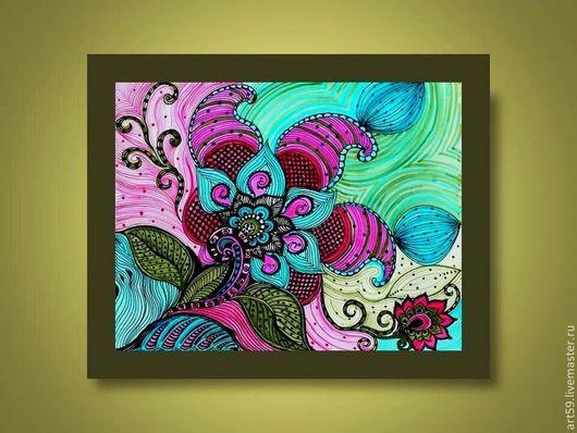 Картины цветов ручной работы. Ярмарка Мастеров - ручная работа. Купить картина Цветочный узор. Handmade. Разноцветный, узоры