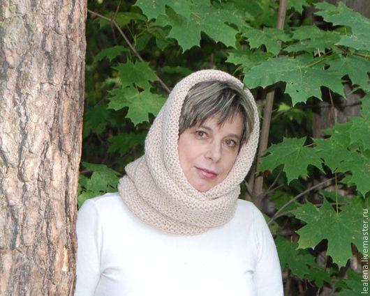 """Шали, палантины ручной работы. Ярмарка Мастеров - ручная работа. Купить Снуд-шарф светло- бежевый  """"Фрез"""" (мериносовая шерсть). Handmade."""