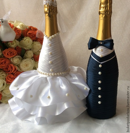 Свадебные аксессуары ручной работы. Ярмарка Мастеров - ручная работа. Купить Оформление свадебных бутылок.. Handmade. Разноцветный, оформление свадьбы