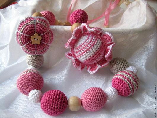 """Слингобусы ручной работы. Ярмарка Мастеров - ручная работа. Купить Слингобусы """"Розовая малышка"""". Handmade. Розовый, можжевеловые бусины"""