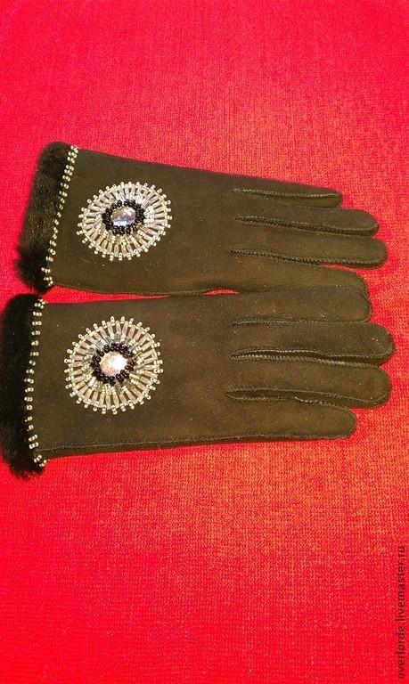 """Варежки, митенки, перчатки ручной работы. Ярмарка Мастеров - ручная работа. Купить Перчатки """"Зимнее солнце"""". Handmade. Черный, кожа"""