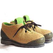 Обувь ручной работы. Ярмарка Мастеров - ручная работа Ботинки песочно-зелёного цвета, 36 рос. размер.. Handmade.