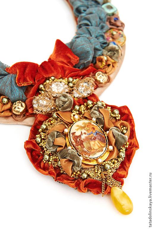 """Колье, бусы ручной работы. Ярмарка Мастеров - ручная работа. Купить Колье №33.""""Медальон"""".. Handmade. Рыжий, медальон, подвеска"""