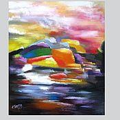 Картины и панно handmade. Livemaster - original item Bright abstract oil painting on canvas of Landscape. Handmade.