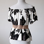 Одежда ручной работы. Ярмарка Мастеров - ручная работа Белая блузка с открытыми плечами Белый топ черно-белая летняя блузка. Handmade.