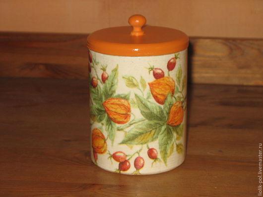 """Корзины, коробы ручной работы. Ярмарка Мастеров - ручная работа. Купить Короб для приправ """"Физалис"""". Handmade. Оранжевый, коробка для мелочей"""