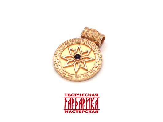 Славянские обереги Алатырь и Светоч из золота с аметистом