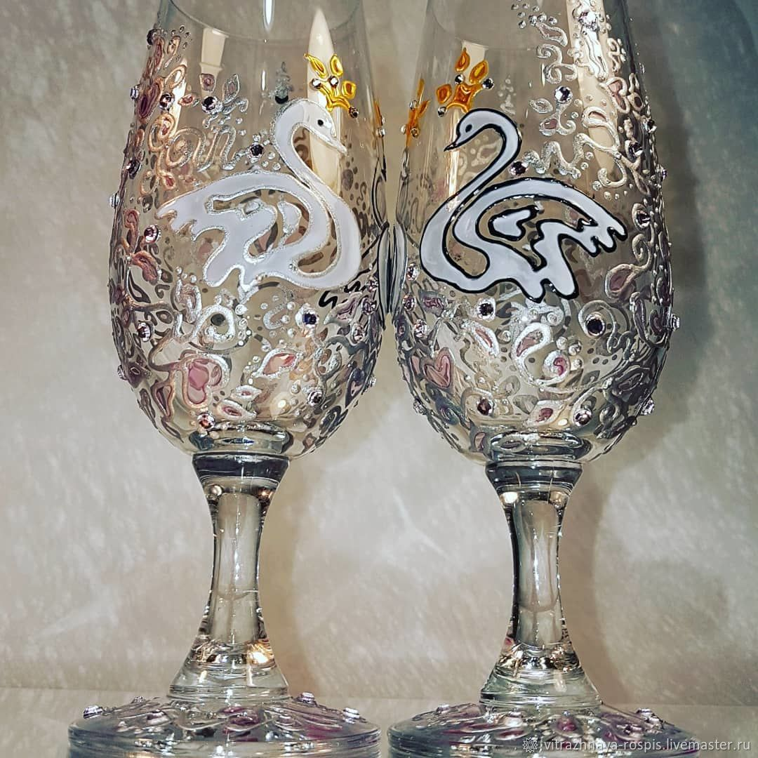 Wedding glasses with stained glass painting ' Swans', Wine Glasses, Kaliningrad,  Фото №1