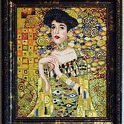 "Картины и панно handmade. Livemaster - original item Embroidered picture G.Klimt ""Portrait of Adele Bloch-Bauer"". Handmade."