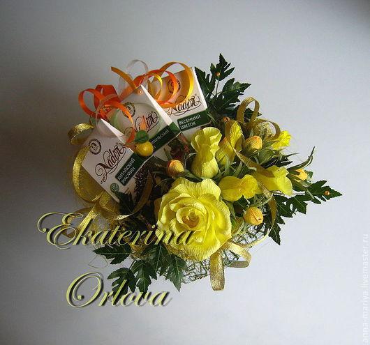 Персональные подарки ручной работы. Ярмарка Мастеров - ручная работа. Купить Наслаждение (букет из конфет и чая). Handmade. Желтый