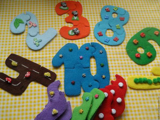Развивающие игрушки ручной работы. Ярмарка Мастеров - ручная работа. Купить Цифро-пазлы пуговичные. Handmade. Пазлы из фетра