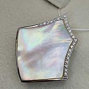 Украшения handmade. Livemaster - original item Silver pendant with 30h29 mm mother of pearl and cubic zirconia. Handmade.
