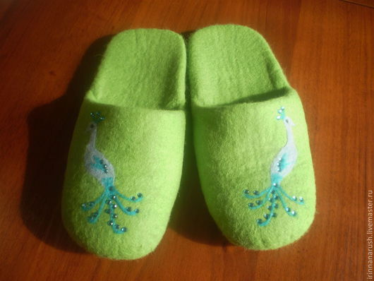 """Обувь ручной работы. Ярмарка Мастеров - ручная работа. Купить Валяные тапочки    """"Синяя птица"""". Handmade. Ярко-зелёный"""