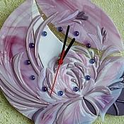 """Для дома и интерьера ручной работы. Ярмарка Мастеров - ручная работа Стеклянные часы """"Розовый пион"""",фьюзинг. Handmade."""