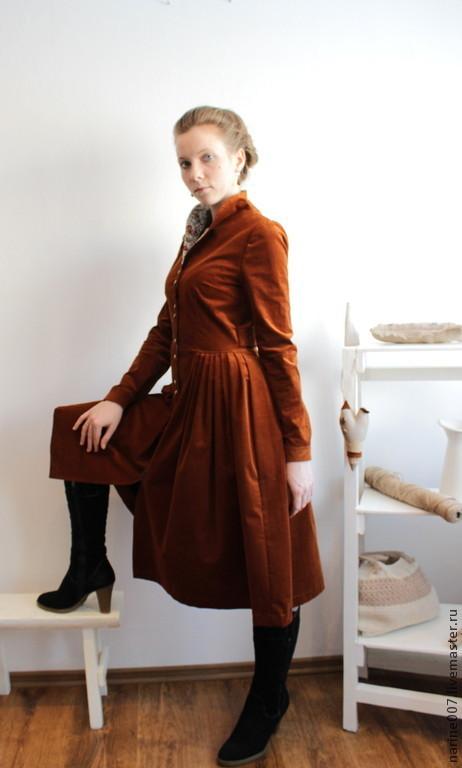 """Платья ручной работы. Ярмарка Мастеров - ручная работа. Купить Платье-пальто """"Соколиная охота"""". Handmade. Рыжий, Платье осеннее"""