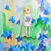 Картины и панно handmade. Livemaster - original item Fairy and Bluebells Watercolour 13х18cm. Handmade.