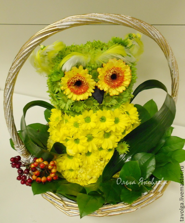 Мастер класс сова из цветов