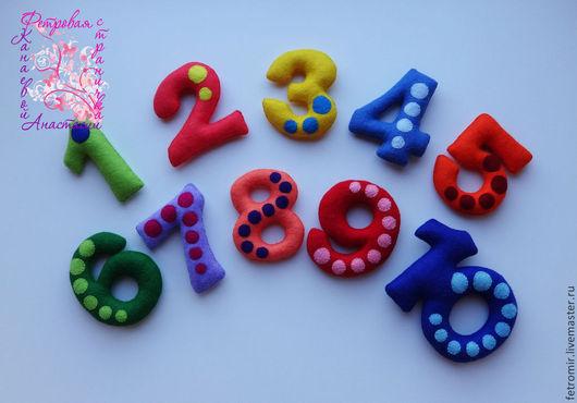 Развивающие игрушки ручной работы. Ярмарка Мастеров - ручная работа. Купить Цифры из фетра (на магнитах). Handmade. Цифры, фетр