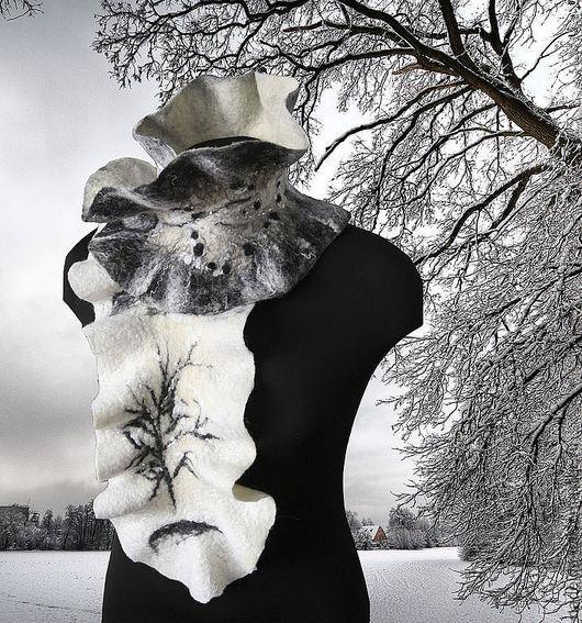 """Шарфы и шарфики ручной работы. Ярмарка Мастеров - ручная работа. Купить Шарф валяный """"Черно-белая зима"""". Handmade."""