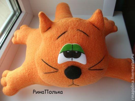 Игрушки животные, ручной работы. Ярмарка Мастеров - ручная работа. Купить Игрушка-подушка Грустный кот. Handmade. Оранжевый, холофайбер