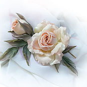 Украшения handmade. Livemaster - original item Rose silk brooch