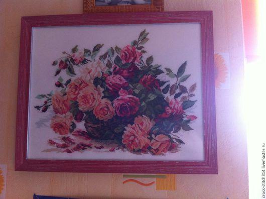 Картины цветов ручной работы. Ярмарка Мастеров - ручная работа. Купить Вышитая картина Розы. Handmade. Розовый, оранжевый, розы