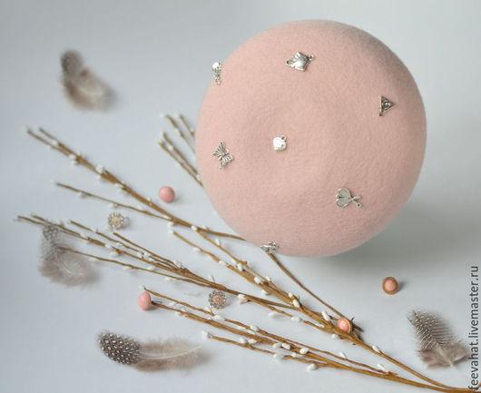 Шляпы ручной работы. Ярмарка Мастеров - ручная работа. Купить Берет мини Розовый с декоративными элементами. Handmade. Однотонный