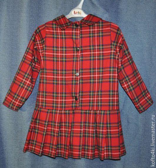 Одежда для девочек, ручной работы. Ярмарка Мастеров - ручная работа. Купить Платье для девочки из шерсти красное в клеточку. Handmade.
