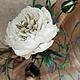 """Цветы ручной работы. Интерьерный цветок пиона с декоративной веточкой """"Белый лебедь"""". Михеева (Лядова ) Ирина (mikha207). Ярмарка Мастеров."""