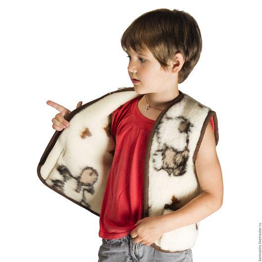 Одежда унисекс ручной работы. Ярмарка Мастеров - ручная работа. Купить Детский жилет, шерсть Мериноса овечки. Handmade. Шерсть