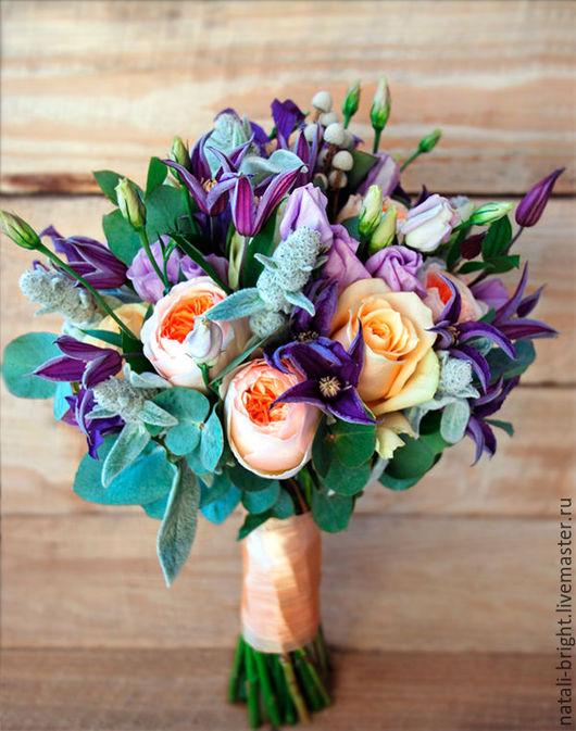 Свадебный букет невесты из живых цветов Прованс
