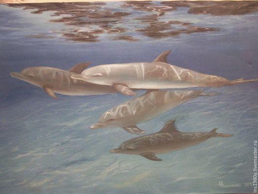 Животные ручной работы. Ярмарка Мастеров - ручная работа. Купить Картина маслом Дельфины. Handmade. Голубой, животные, море, холст