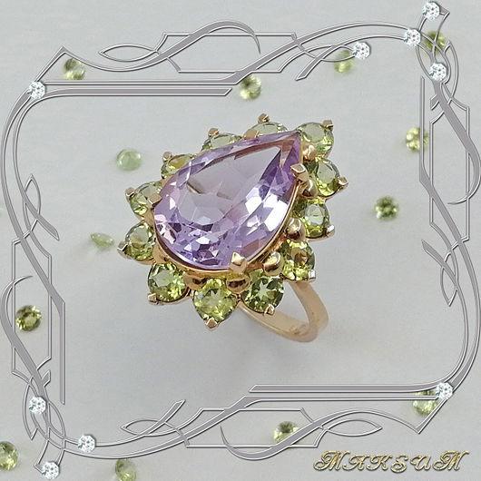 Ring 'Big drop' gold 585, amethysts, chrysolites, Rings, St. Petersburg,  Фото №1