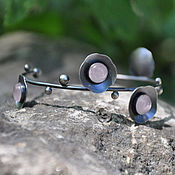 Украшения handmade. Livemaster - original item Sakura cuff bracelet (925 silver, rose quartz). Handmade.