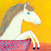 Элементы интерьера ручной работы. Ярмарка Мастеров - ручная работа Иллюстрация Белая лошадка для детской комнаты.. Handmade.