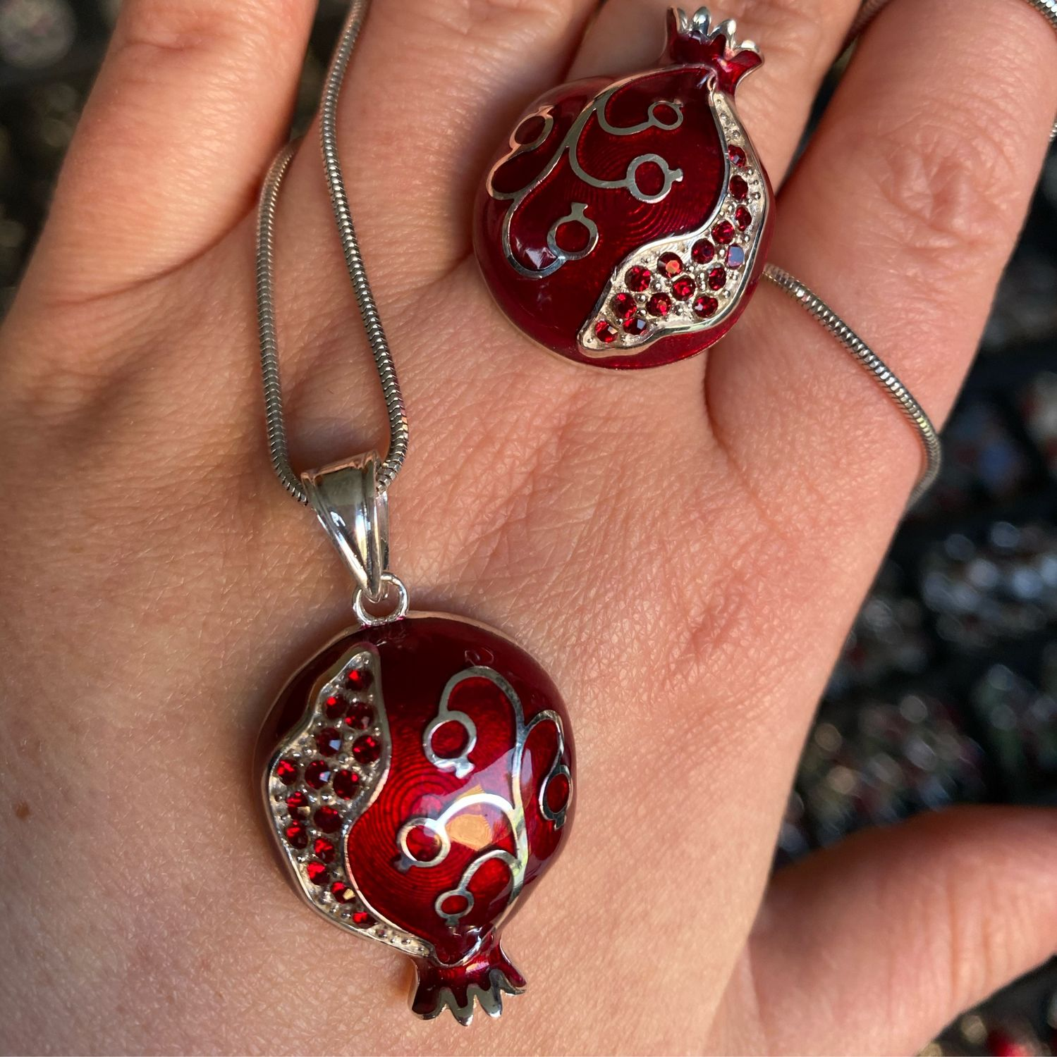 Pomegranate Paradise. Ring and pendant made of silver with enamel, zircons, Jewelry Sets, Moscow,  Фото №1