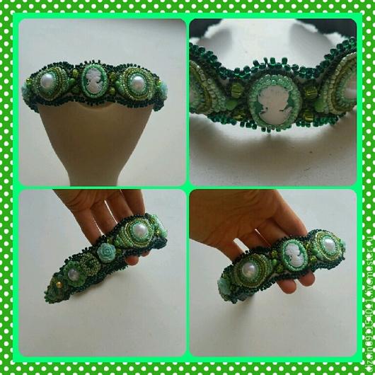 """Диадемы, обручи ручной работы. Ярмарка Мастеров - ручная работа. Купить Ободок """"Зеленое настроение"""". Handmade. Зеленый, ободок для девочки"""