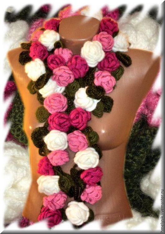 Шарфы и шарфики ручной работы. Ярмарка Мастеров - ручная работа. Купить вязанный крючком шарфик. шарфик вязанный. шарф цветы. теплый шарф. Handmade.