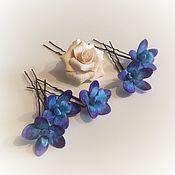 Свадебный салон ручной работы. Ярмарка Мастеров - ручная работа Свадебные шпильки в прическу фиолетовые орхидеи из полимерной глины. Handmade.