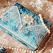 Шкатулки ручной работы. Ярмарка Мастеров - ручная работа Бархатная шкатулочка для украшений в бирюзовом цвете. Handmade.