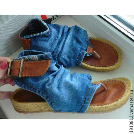 Обувь ручной работы. Ярмарка Мастеров - ручная работа. Купить джинсовые вьетнамки(345). Handmade. Тёмно-синий, женская обувь